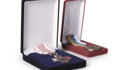 Military medals manufactured by us in display cases