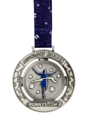 Midnight Runners Medal with personalised ribbon