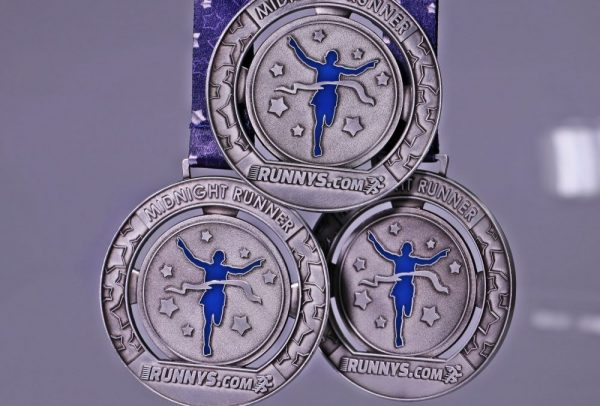 Midnight Runners Medals with personalised ribbons
