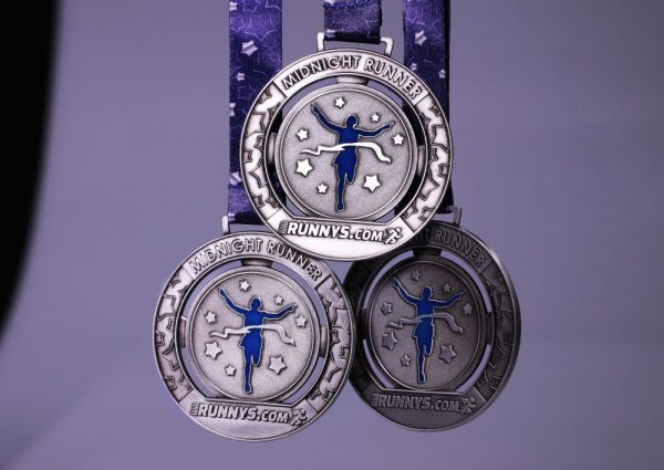Three Midnight Runners Medal with personalised ribbon